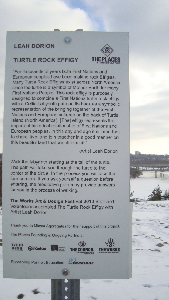 "L. Dorion sign ""Turtle Rock Effigy"" (2010, Edmonton) - Photo: Sherry Ann (27 Mar. 2014)"