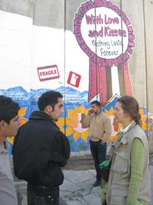 We talk in Bethlehem beside the Israeli government's Separation Wall_16Dec2010 Photo credit: M.J.